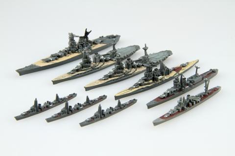 1/3000フジミ模型の集める軍艦シリーズのミニチュア