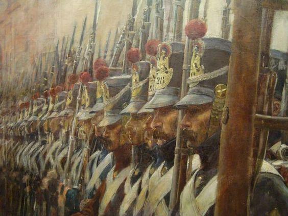 ナポレオン帝政大陸軍歩兵の戦闘中のイラスト