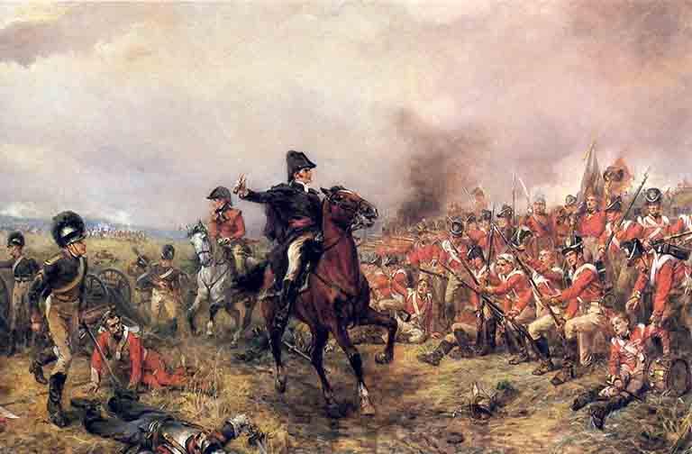 イギリス軍司令官ウェリントンと英軍歩兵